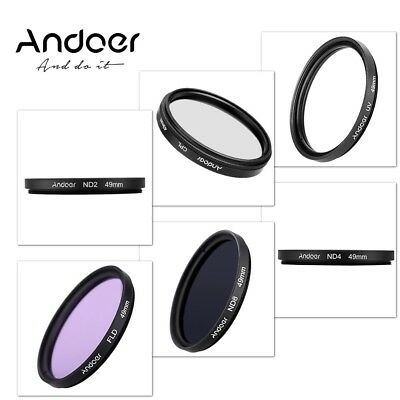 Andoer 49mm UV+CPL+FLD+ND(ND2 ND4 ND8) Photography Filter Kit Set for Nikon Cano