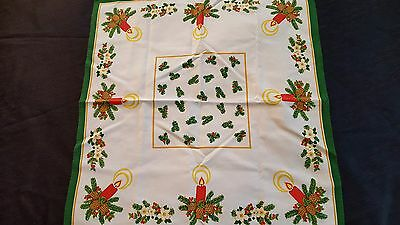 Holiday candle German print tablecloth topper cotton mix topper 22 x 24 vtg