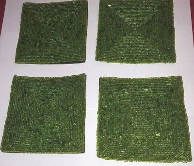 """4 green beaded glass design coasters 4"""" square vintage"""