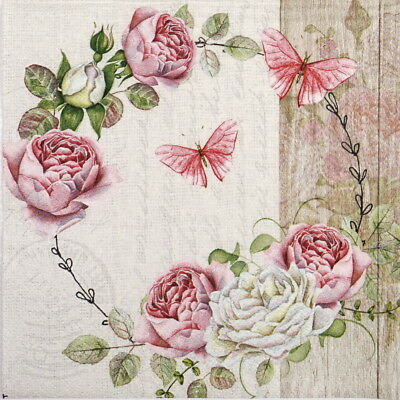 4x Paper Napkins for Decoupage Decopatch Craft Roundel of roses