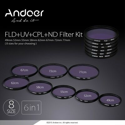 Andoer 49/52/55/58/62/67/72/77mm UV+CPL+FLD+ND(ND2 ND4 ND8) Photography Filter K