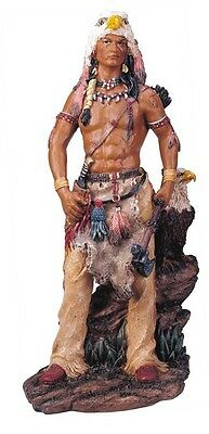 "11"" Inch Indian Statue Figure Western Figurine Warrior Indio American Eagle"
