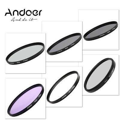 Andoer 77mm UV+CPL+FLD+ND(ND2 ND4 ND8) Photography Filter Kit Set for Nikon Can