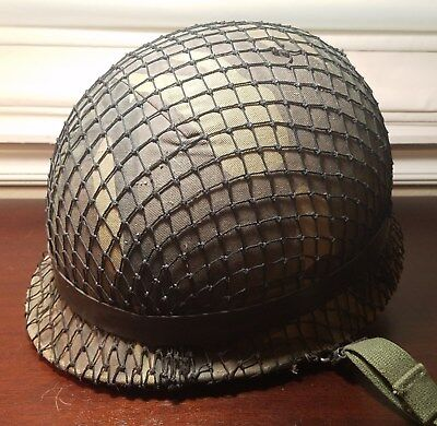 Panama Defense Forces M1 Helmet with Liner, Cover, Net, and Band