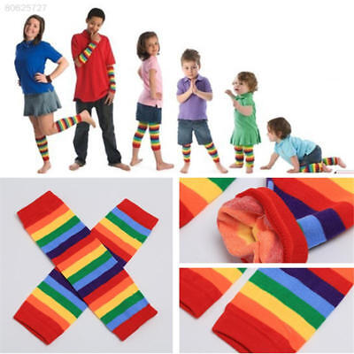 65F8 Baby Toddler Girl Winter Leg Warmer Tights Cotton Rainbow Stripes Socks