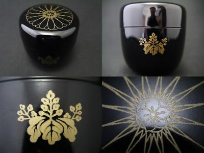 Japanese Lacquer Tea caddy Chrysanthemum Paulownia makie Natsume (911)