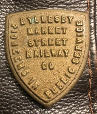 RARE SAN FRANCISCO MARKET STREET RAILWAY CO BYLLESBY BRASS PAPERWEIGHT 1930s