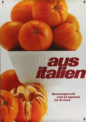 FROM ITALY: ORANGES Vintage 1966 Swiss advertising poster 36x51 RARE NM