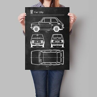 Fiat 126p Car Poster Retro Patent Blueprint