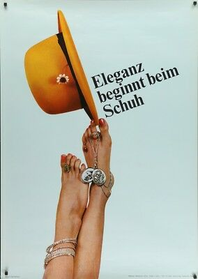 SCHUH Shoes Vintage 1969 Swiss advertising poster 36x51 RARE NM
