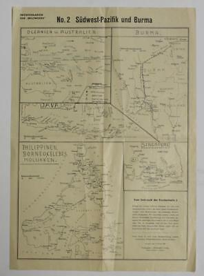 Singapore Australia New Zealand East Indies 1942 Wetlwoche Verlags Antique Map