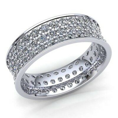 Natural 1 Ct Round Cut Diamond Ladies 3Row Pave Wedding Eternity Band 14K Gold