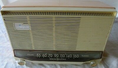 Vtg General Electric Pink Musaphonic Am Tube Radio Works Model T-130A