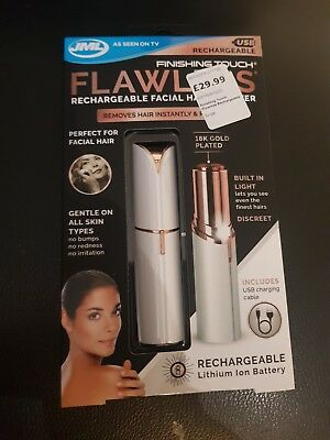 JML Finshing Touch Flawless Rechargeable Facial Hair Remover New