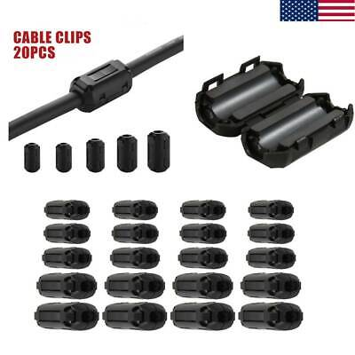 20pc Ring Core Cable Clips Ferrite Bead Clamp Choke Coil EMI RFI Noise Filter US