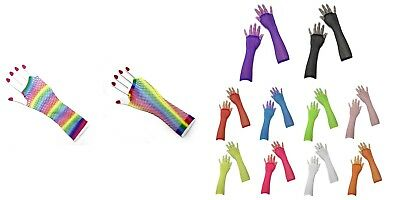 1980s Fancy Dress Long Rainbow Fishnet Glove Hens Party 80s Disco Outfit
