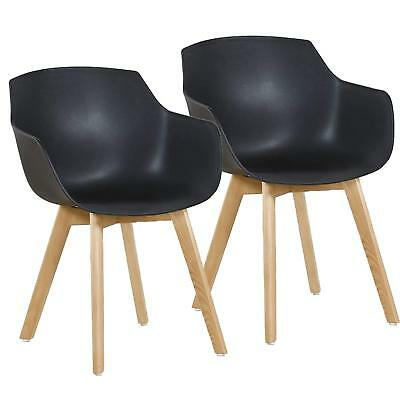 2pcs Black Tulip Dining Chair Plastic Wood Office Armchair With Beech Wood Legs