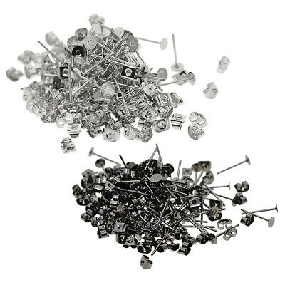 400Pcs Iron Flat Ear Pin Studs Earring Posts with Back Jewelry Making Supply