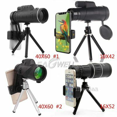 US 40X60 16X52 10X42 Zoom Optical Lens Monocular Telescope+Tripod For Cell Phone