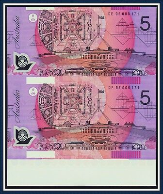 UNCUT Consec Prefix $5 Polymer Notes Fraser/Evans matching serial nrs