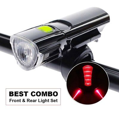 Road Bike Mountain MTB Bicycle LED Front Light Cycling Rear Laser Tail Lamp Set