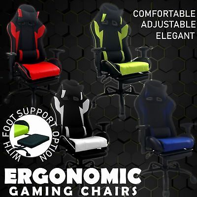 Office Recliner Chair Home Executive Gaming Footrest High Back Fx Leather Chrome