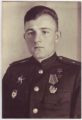 Russia Wwii Heroes Serie Photo: Officer, Hero Of Soviet Union, Name On Reverse