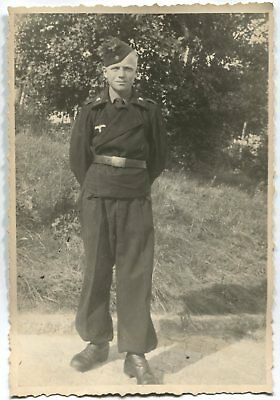 German Wwii Archive Photo: Young Tankman Posing On Camera