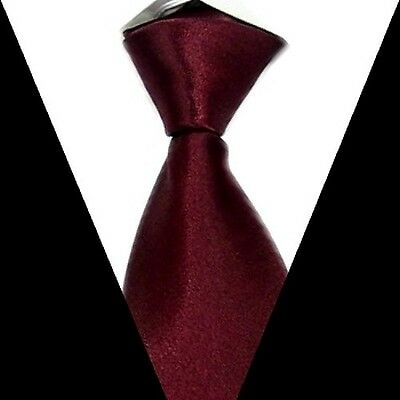 Brand New formal wedding groom Party Solid Mens Silk Tie burgundy Necktie S22