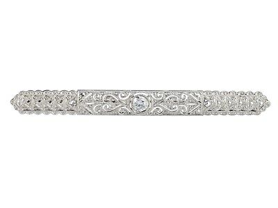 Art Deco 18 K 750 Weißgold Gold 0,22 ct Diamant Brillant Damen Stab Brosche!