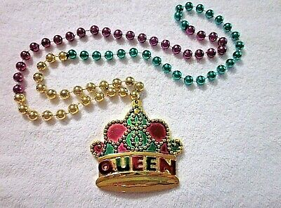 """Colorful """"queen's Crown"""" Mardi Gras Pgg Sectional Necklace Bead Royalty (B1071)"""
