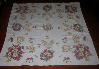 Vintage Supper Cloth ~ Bright Flowers On White ~ Cotton ~ Square