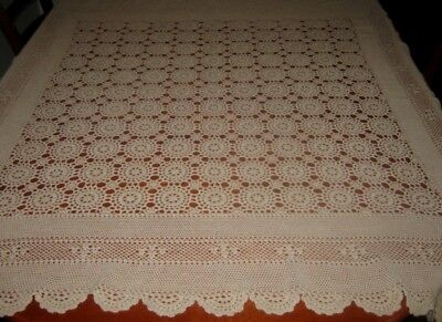 Vintage Crocheted Lace Tablecloth ~ Beige ~ Cotton ~ Square