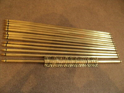 Beautiful Set Of 13 Vintage Brass  Stair Rods And 26 Original Brackets