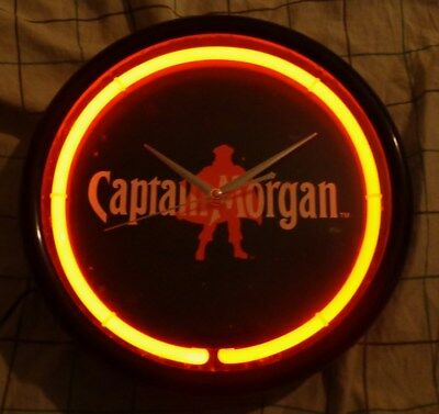 Captain Morgan Rum - 11.5 inch Round Neon Wall Clock - CM4703 - NEW