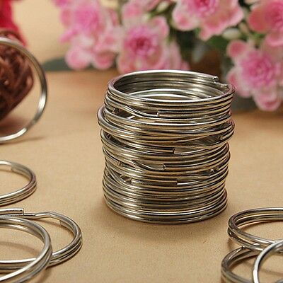 100PCS Key Rings Chains Split Ring Hoop Metal Loop Steel Accessories 25MM
