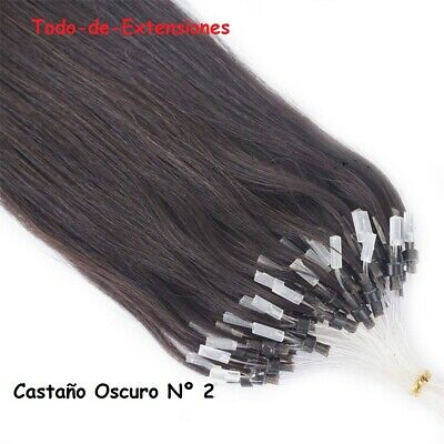 100 Extensiones Micro Ring, Cabello 100 % Natural, Remy , CASTAÑO OSCURO Nº 2