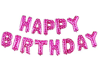 Treasures Gifted 16 Inch Pink Happy Birthday Balloons Aluminum Foil Banner Set a