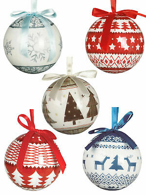 Set of 6 x 6cm Baubles Christmas Tree Decoration Xmas Festive Reindeer Fairisle