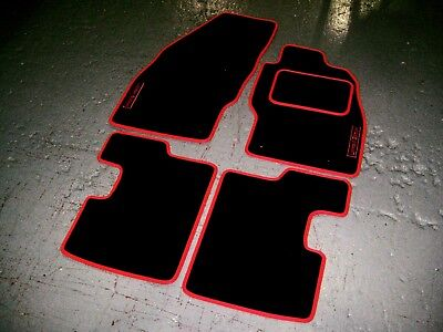 Black/Red Car Mats To Fit Vauxhall Corsa D (2006-2014) + Limited Edition Logos
