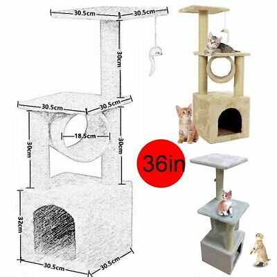 UK Cat Tree Scratching Post Activity Centre Bed Play Toys Scratcher Beige/Navy