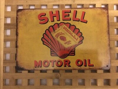 Vintage Retro Style Metal Tin Sign Poster Shell Motor Oils Rare Cave Wall Home