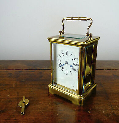 Antique French Striking Brass Carriage Clock Gong Chime Jewelled 8 Day with Key
