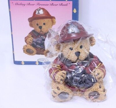 Teddy Bear Fireman Coin Bank w/ Fire Helmet & Firetruck by Youngs Inc 20241