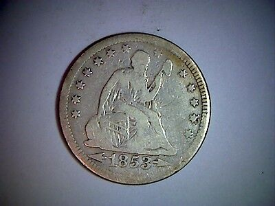 1853 Liberty Seated United States Quarter,  Arrows At Date And Rays,