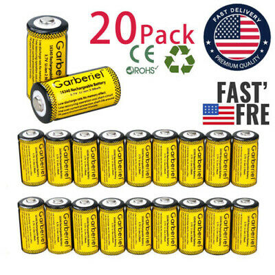 20Pcs CR123A 1800mAh 3.7V 16340 Rechargeable Lithium Battery for Alarm Laser  US