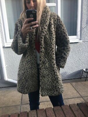 Vintage Faux Leopard Animal Print Fur Coat Jacket Uk 10/12