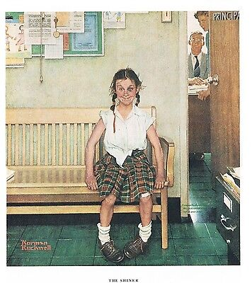 """Norman Rockwell print """"DISCIPLINARY ACTION"""" or """"THE SHINER"""" gender LGBTQ girl"""