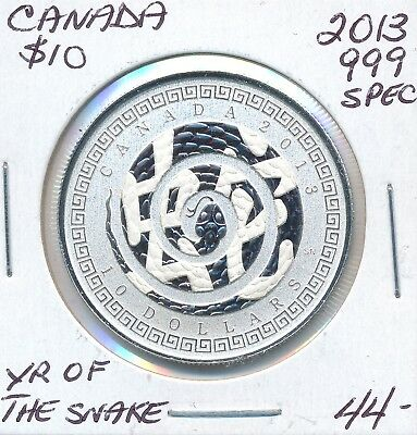 Canada 10 Dollars  2013 Year Of The Snake .999  Fine Silver - Specimen