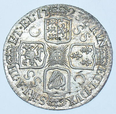 SCARCE 1723 SSC SHILLING, C/SS IN 3rd QUARTER, BRITISH SILVER COIN FROM GEORGE I
